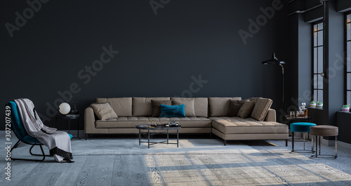 Obraz Decorative backdrop of a room at home, office and hotel. Modern sofa interior design and bright modern interior details against a dark classic wall. Bright light from the window. - fototapety do salonu