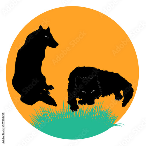 Wolf and she-wolf - round icon isolated on a white background - vector Canvas-taulu