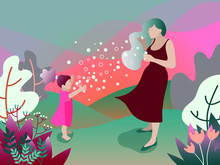 Mother And Her Daughter Blowing Bubbles In The Garden. Flat Design. Vector Illustration.