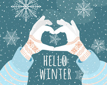 Hello Winter Holiday Vector Il...