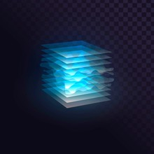 Glowing Blue Cube Of Transpare...