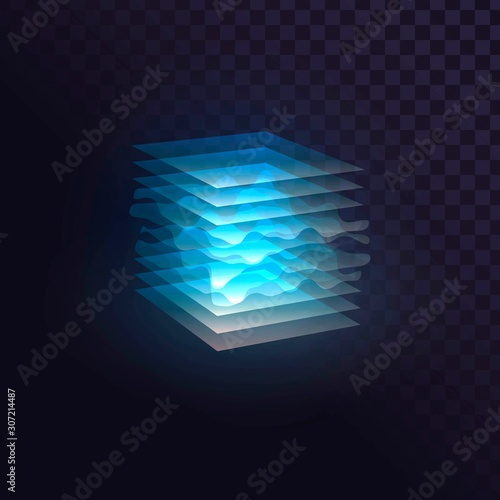 Photo Glowing blue cube of transparent layers, futuristic block