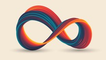 Colorful Infinity Sign With Stripes, Gradient Swirling Ring