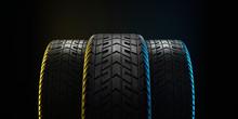 Three Car Tires Lined Up. 3d I...