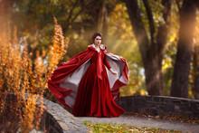 Beautiful Girl In A Burgundy R...