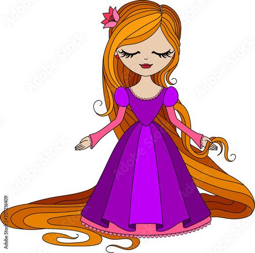Photo  Cute little princess Rapunzel. Vector illustration