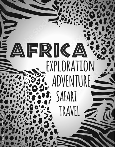 Africa, continent silhouette, animal print fill. Wallpaper Mural