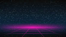 Synthwave Grid Background. 80s Retro Future Backdrop. Pink Perspective Grid On Dark Starry Sky. Synthwave Fetro Futuristic Party Flyer, Poster, Cover, Banner Template. Sci-fi Stock Vector Illustration