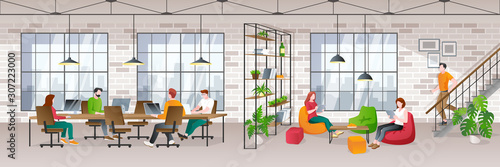 Obraz Coworking office loft interior with working people. Vector trendy flat illustration. Creative working space - fototapety do salonu
