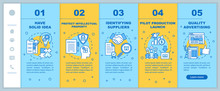 Start Local Production Onboarding Mobile Web Pages Vector Template. Solid Idea. Responsive Smartphone Website Interface Idea With Linear Illustrations. Webpage Walkthrough Step Screens. Color Concept