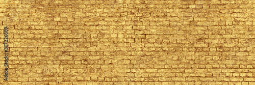Panoramic Wall of Golden Bricks Wallpaper Mural
