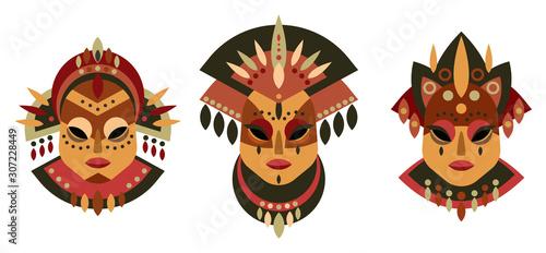 Photo Ethnic tribal masks vector set