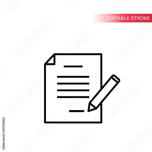 Fototapety, obrazy: Paper document with pencil signing. Thin line, editable stroke vector.