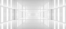 Abstract White Background Architecture Glossy Room 3d Render Illustration