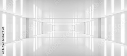 abstract white background architecture glossy room 3d render illustration - fototapety na wymiar