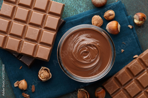 Hazelnut spread with nuts and chocolate Canvas Print