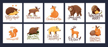 Hand Drawn Forest Animal Vector Set In A Flat Style. Woodland Cartoon Card Funny Collection With Funny Lettering Joke Quotes With Moose, Fox And Squirrel. Bear, Wild Boar, Fawn Deer, Owl And Beaver Fa