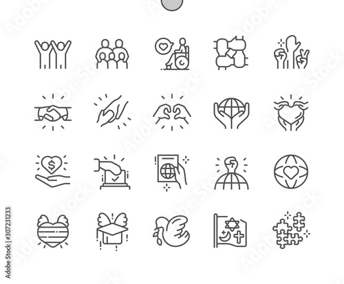 Obraz Tolerance Well-crafted Pixel Perfect Vector Thin Line Icons 30 2x Grid for Web Graphics and Apps. Simple Minimal Pictogram - fototapety do salonu