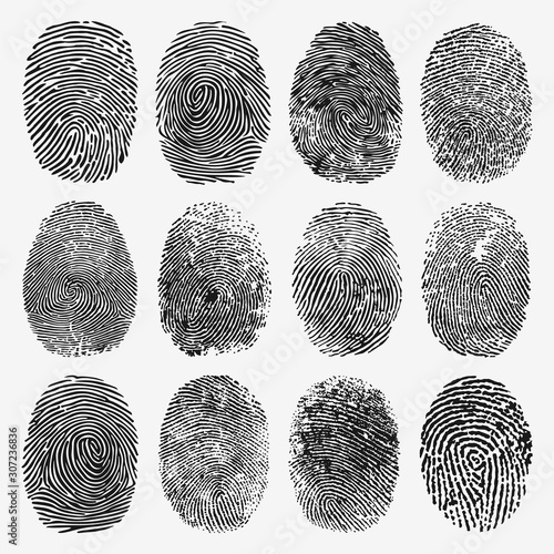 Fotografie, Tablou  Fingerprint Vector Set