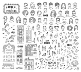 Collection of various hand drawn items, like faces, houses, tiny people, food, and floral elements. Black and white line art