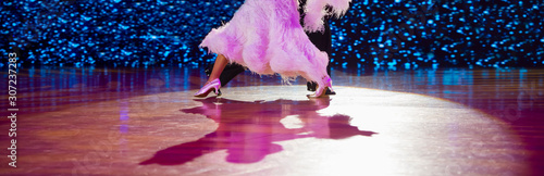 Photo Woman in pink gown and man black tailcoat. Latino dancing
