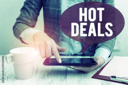 Text sign showing Hot Deals Canvas Print