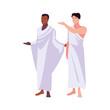 men pilgrim hajj standing on white background