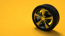 Car Wheel Isolated On Yellow Background. Tyre. Poster Booklet Cover Design. 3d Illustration