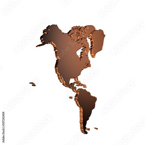Photo american continent map 3d effect