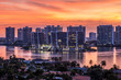 Skyline of South Florida waterfront city at sunset