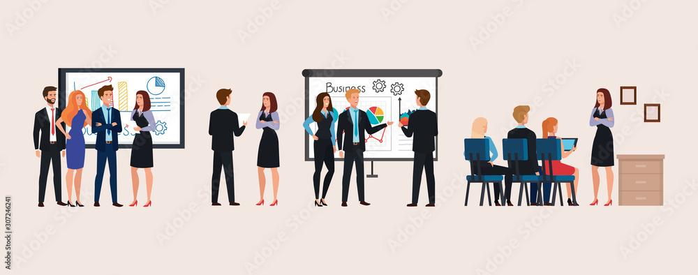 Fototapeta set of scenes business people meeting with infographics presentation vector illustration design