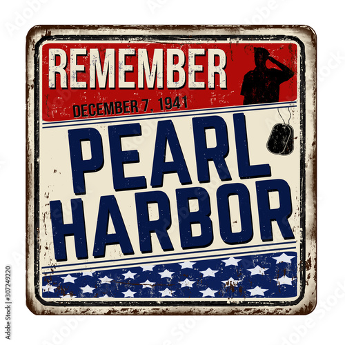 Remember Pearl Harbor vintage rusty metal sign Canvas Print