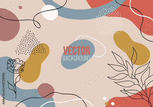 Fotografie, Tablou  Vector abstract colorful pattern background with lines, plants and dots
