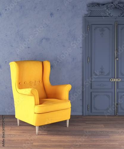 Retro luxury empty living room yellow armchair Wallpaper Mural