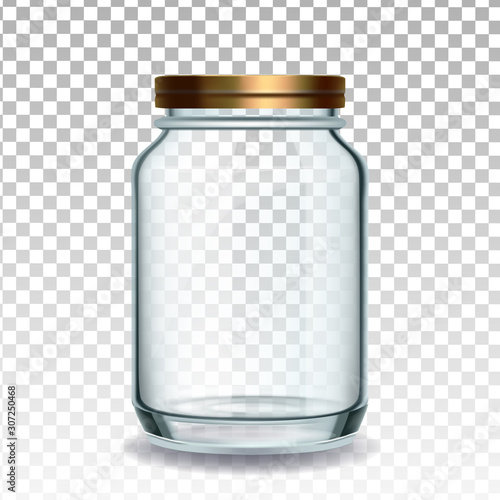 Jar Glass Closed By Golden Cap For Jam Vector Canvas