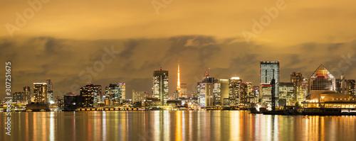 Fototapety, obrazy: (東京都-風景パノラマ)東京ベイエリアの夜景2