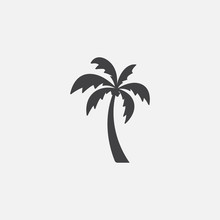 Palm Tree Silhouette Icon Vect...