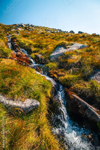 Typical Scotland view on highland valley with flowing river, blurred motion - 307252448