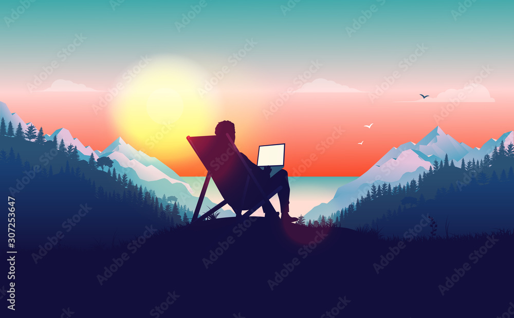 Fototapeta Work from anywhere. Man in sun chair working on laptop with a beautiful view of nature, forest, mountains and ocean in the background. Freelance and freedom concept. Vector illustration.