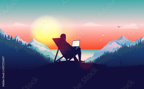 Obraz Work from anywhere. Man in sun chair working on laptop with a beautiful view of nature, forest, mountains and ocean in the background. Freelance and freedom concept. Vector illustration. - fototapety do salonu