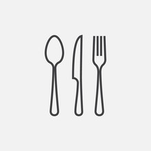 Spoon, Fork And Knife Icon, Cr...