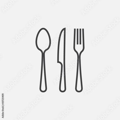 Fototapeta Spoon, Fork and Knife icon, Crossed symbol, restaurant Flat Vector illustration,