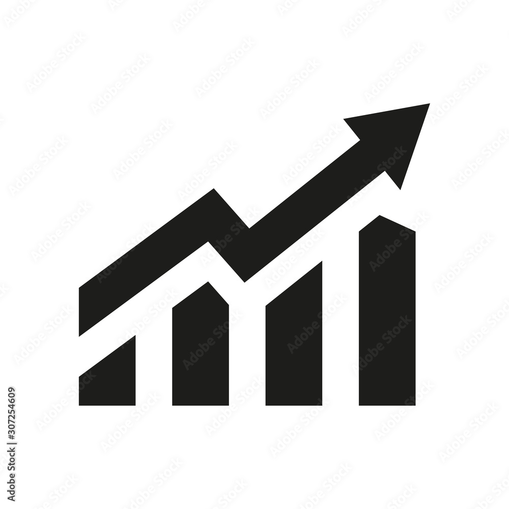 Fototapeta Profit growing icon. Isolated vector icon. Progress bar. Growing graph icon graph sign. Chart increase profit. Growth success arrow icon.