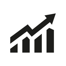 Profit Growing Icon. Isolated Vector Icon. Progress Bar. Growing Graph Icon Graph Sign. Chart Increase Profit. Growth Success Arrow Icon.