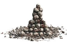 3D Skulls Stacked And Bone Fra...