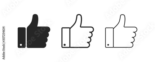 Obraz Thumb up and down. Isolated vector flat outline icon. Social media icon. Vector button. Black thumb up isolated icon. Vote symbol tick. - fototapety do salonu