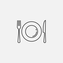 Plate, Fork And Knife Icon, Cr...