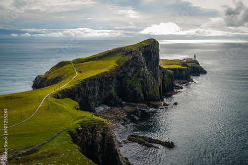 Obraz na płótnie Famous lighthouse on isle of Skye in Scotland, Point nest, view over the approac