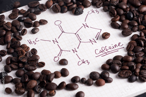 Coffee beans with hand drawn caffeine formula Tapéta, Fotótapéta