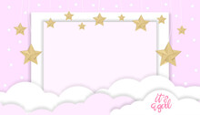 Vector Illustration For Baby Girl Shower Card With Clouds And Stars Hanging On Pink Background, Cute Paper Cut With Copy Space For Baby's Photos,